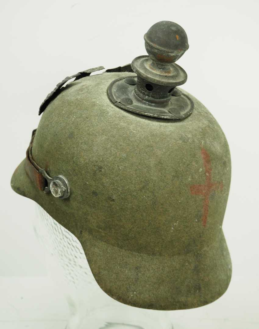 Prussia: field grey replacement Pickelhaube made of felt, for teams of artillery - photo 4