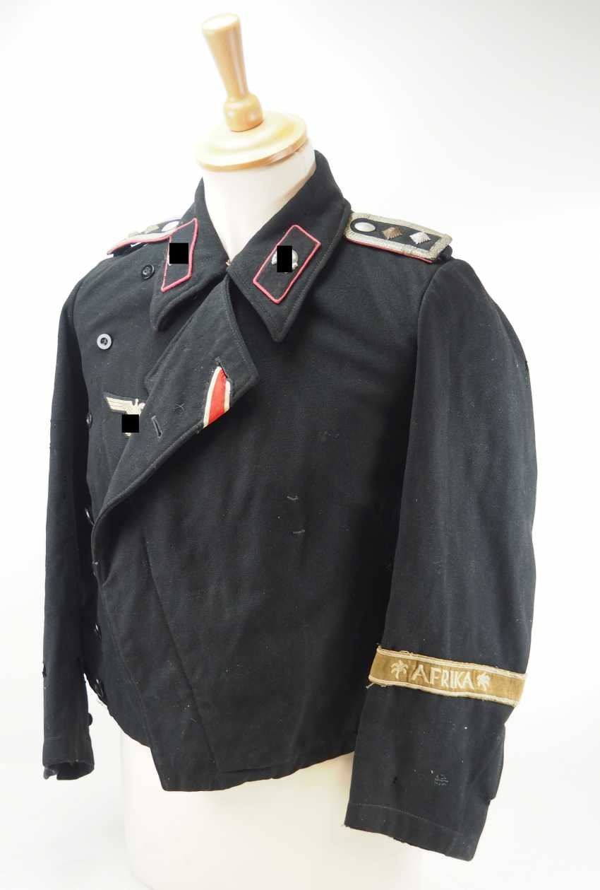 Wehrmacht: Black Panzer jacket of a Obefeldwebel in the Armored corps and Africa-veterans. - photo 1