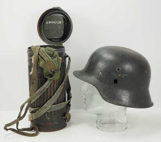 Luftwaffe steel helmet M42, and a gas mask of the air force-assistant. - photo 1