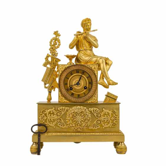 FRENCH PENDULE WITH FLUTE PLAYER - photo 1
