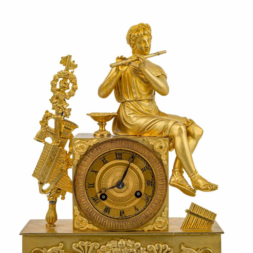 FRENCH PENDULE WITH FLUTE PLAYER - photo 2