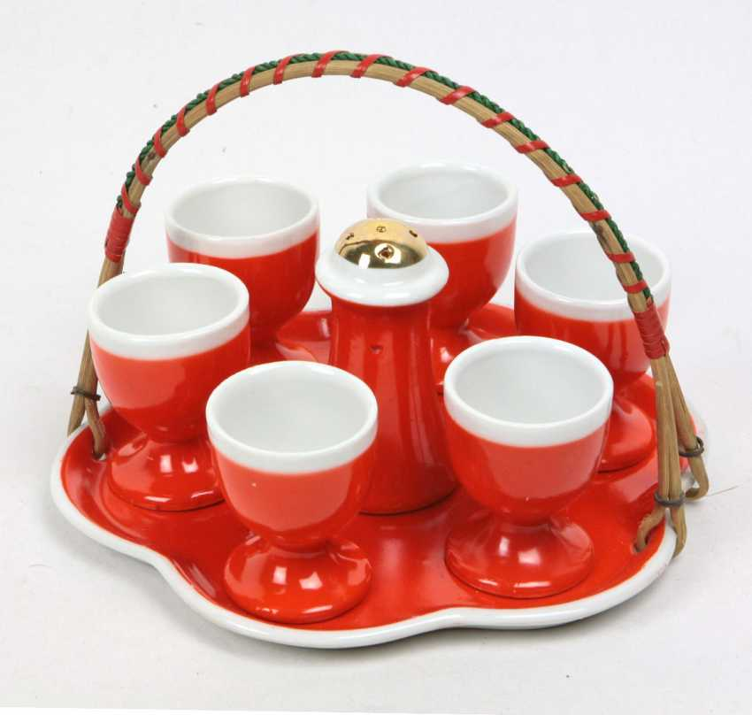 Set of egg cups on tray - photo 1
