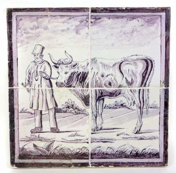 rare faience Tile panel of Delft, around 1750 - photo 1