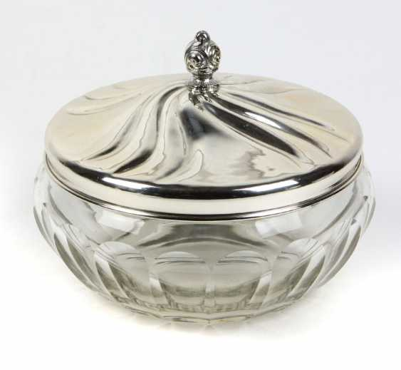 Crystal jar with silver lid - photo 1