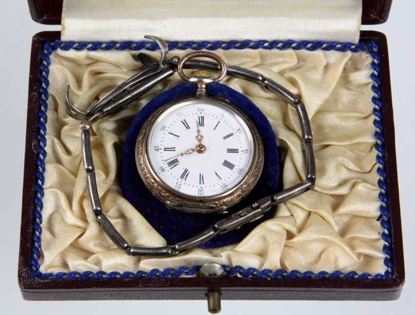 silver pocket watch with Patent strap - photo 1