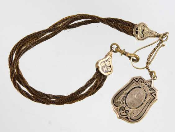 Biedermeier human hair watch chain with locket - photo 1