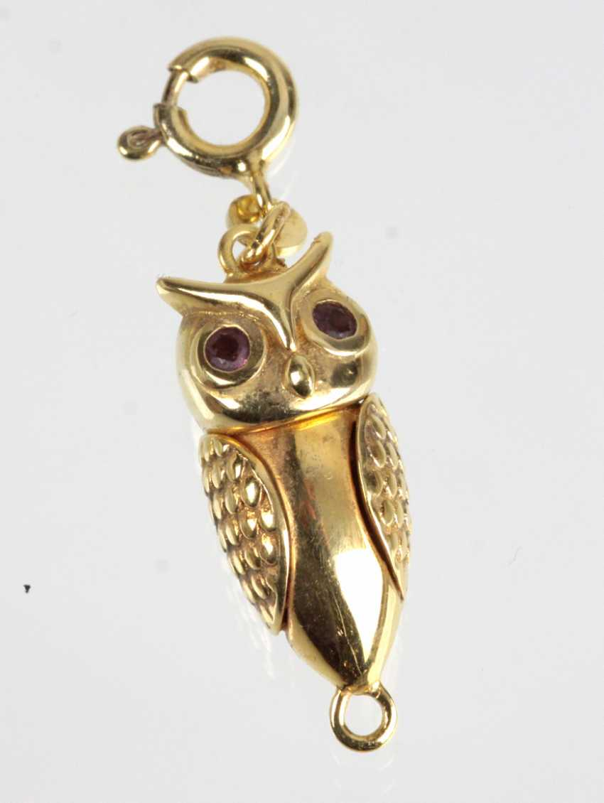 Owl pendant - silver plated - photo 1