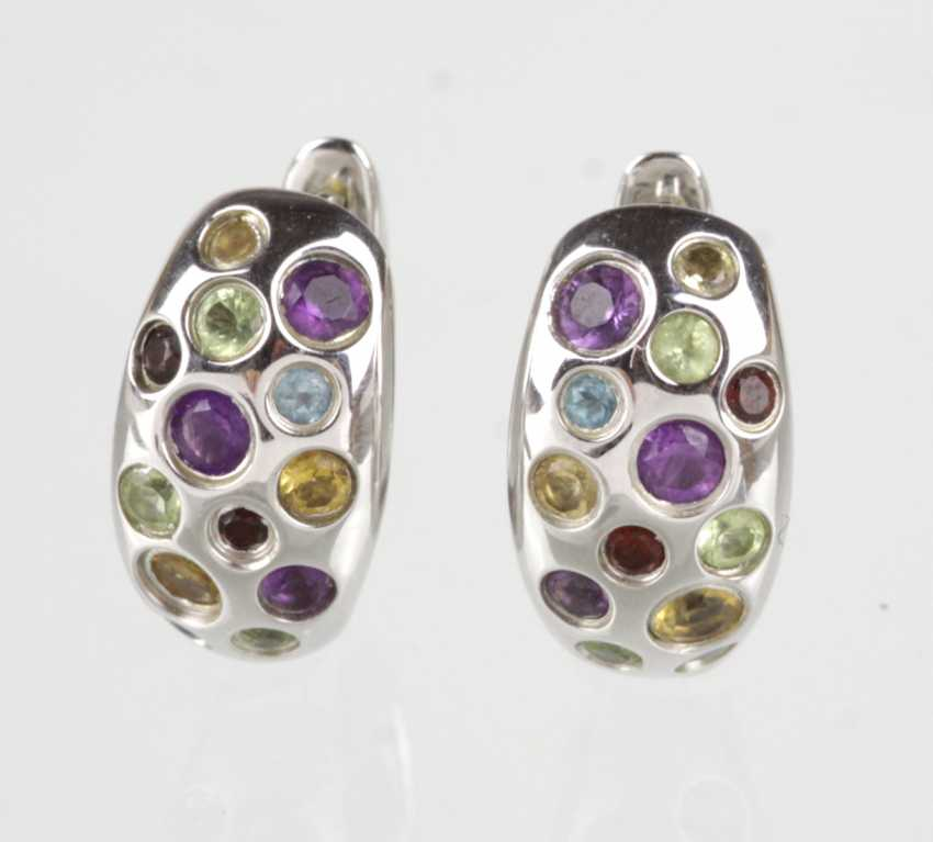 Hoop earrings with color stone silver 925 - photo 1