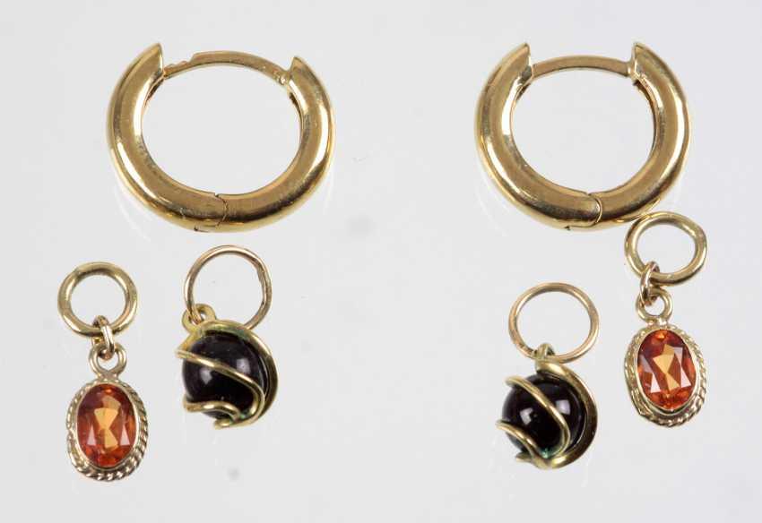Le pliage boucles d'oreilles avec Pendentif - or Jaune 333 - photo 1