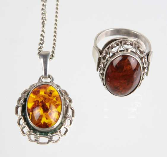 Amber Ring & pendant on chain - photo 1