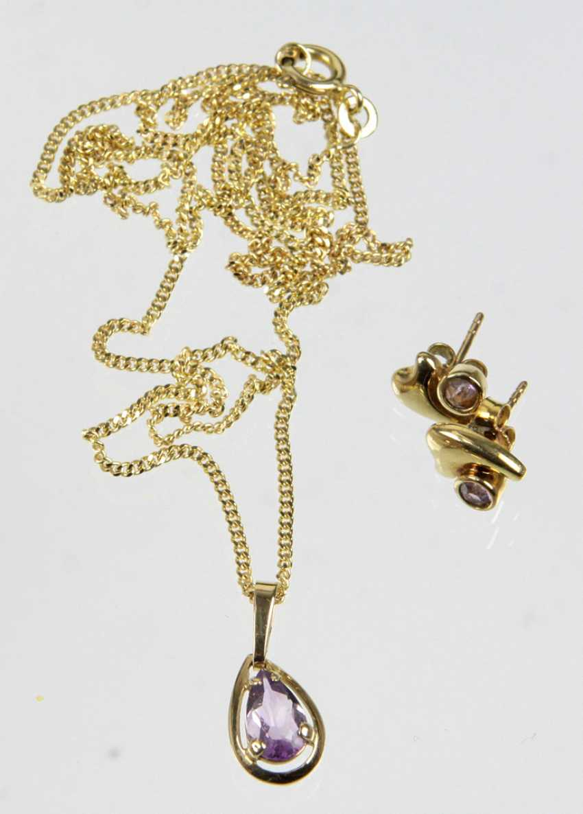 Amethyst pendant & earrings - yellow gold 333 - photo 1