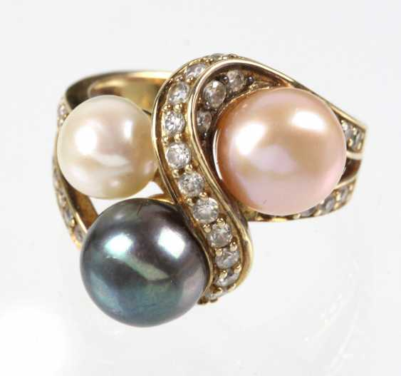 Pearl Ring with cubic Zirconia - silver plated - photo 1