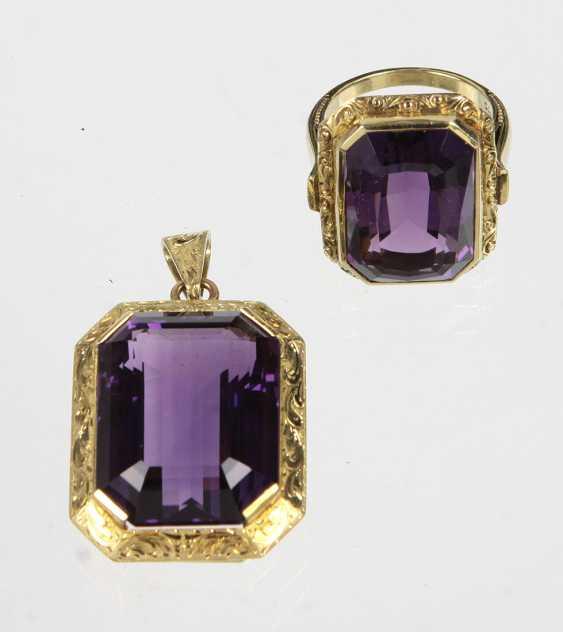 Amethyst Ring & pendant - yellow gold 585 - photo 1