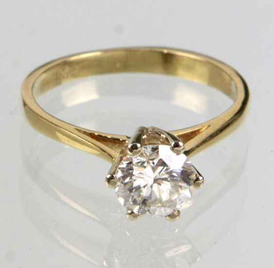 Ring brilliant solitaire 0.92 ct. Yellow gold 585 - photo 1