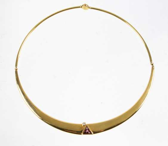 Necklace with Amethyst & brilliant - yellow gold 750 - photo 1