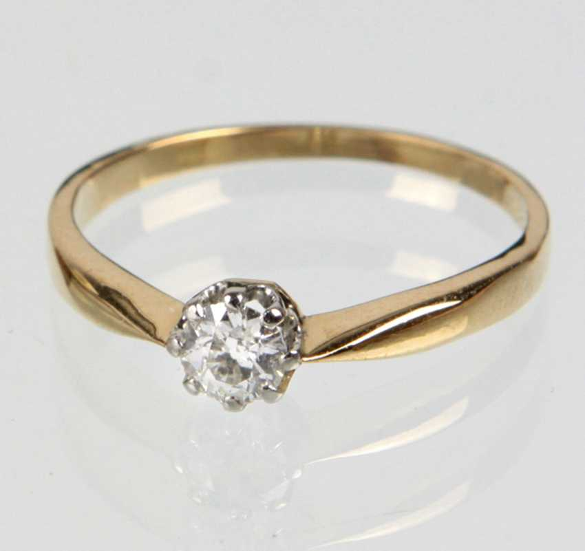antique diamond solitaire Ring yellow gold 585 - photo 1