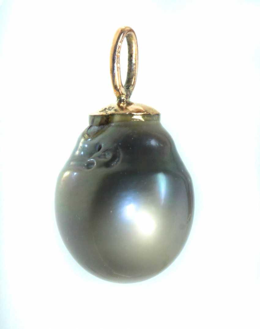 large Tahitian pearl pendant - yellow gold 585 - photo 1