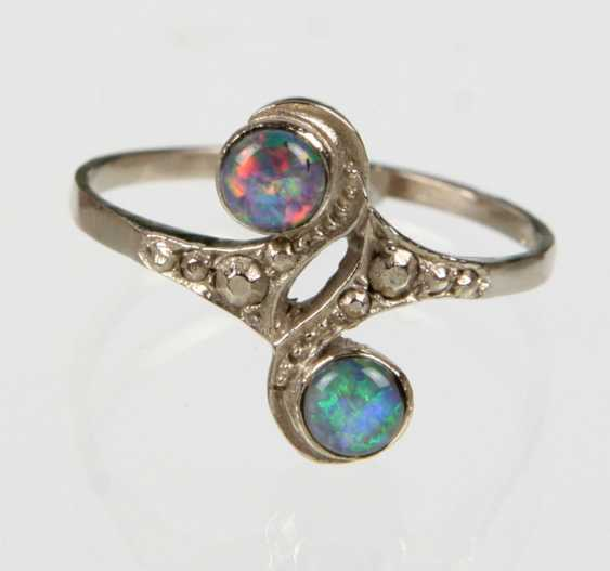 Art Nouveau Opal Ring White Gold 585 - photo 1