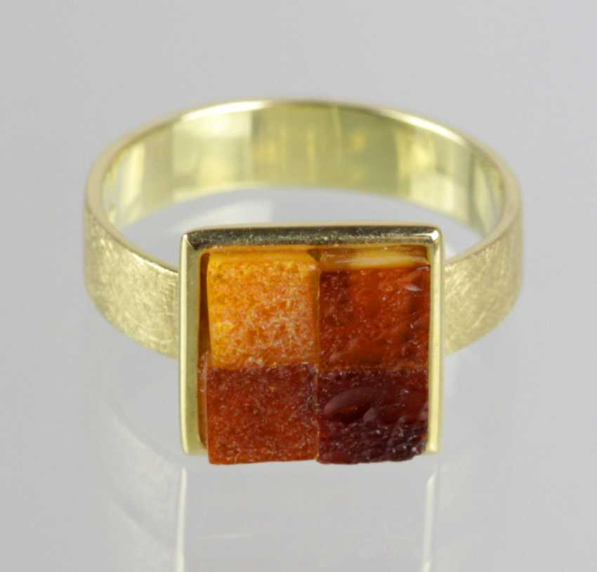 Amber Ring - Yellow Gold 585 - photo 1