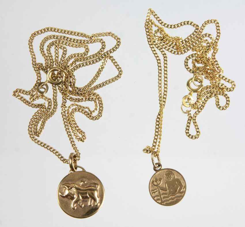 2 zodiac pendant on chain - yellow gold 333 - photo 1