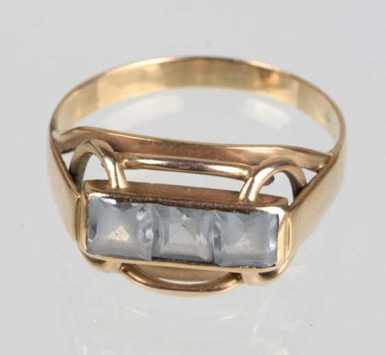 Bridge ring with trim - yellow gold 333 - photo 1