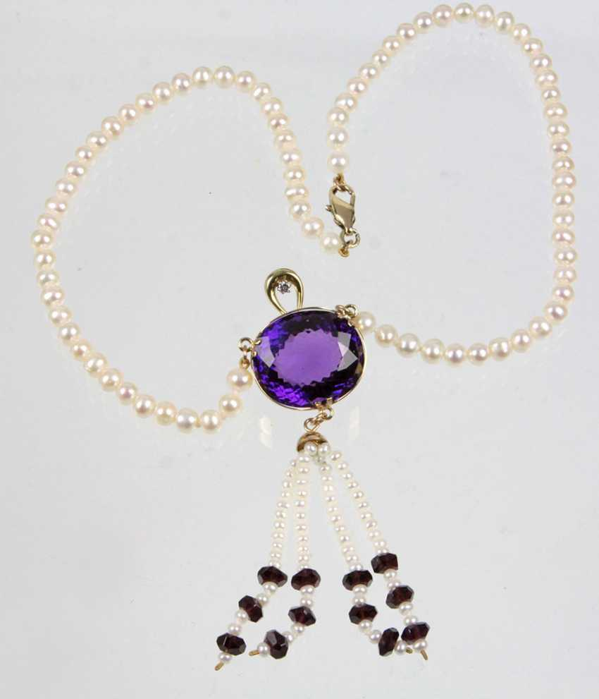 Amethyst Diamond Pearl Necklace - Yellow Gold 585 - photo 1