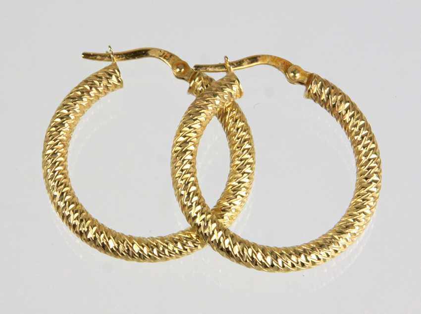 Gold Hoop Earrings - Yellow Gold 375 - photo 1