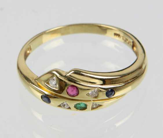 Color stone Ring with diamonds - yellow gold 585 - photo 1