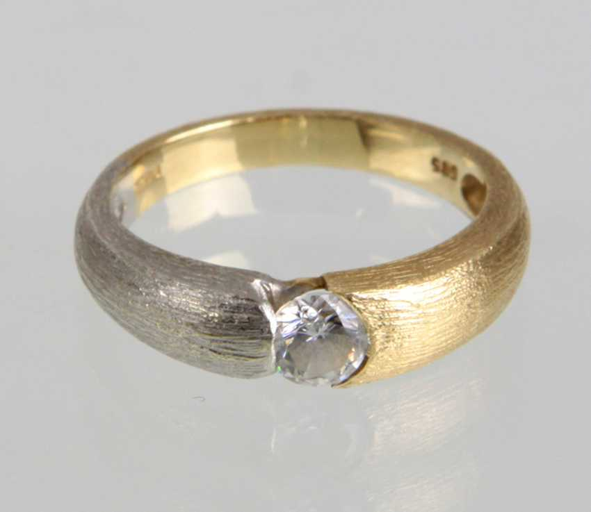 Cubic Zirconia Ring - Yellow Gold/White Gold 585 - photo 1