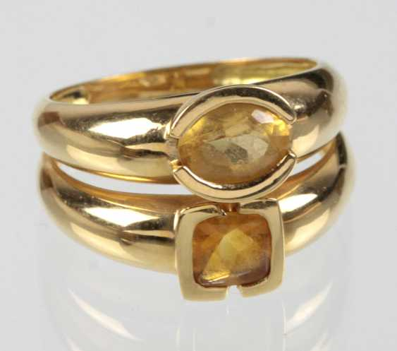 Double ring with citrine - yellow gold 750 - photo 1