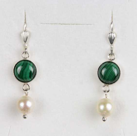 Malachite Pearl Earrings - photo 1