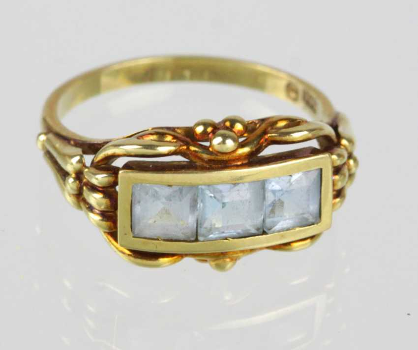 Blue Topaz Bridges Ring - Yellow Gold 585 - photo 1