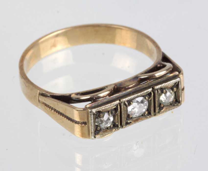 Art Deco Bridge Ring - Yellow Gold 585 Brillant - photo 1