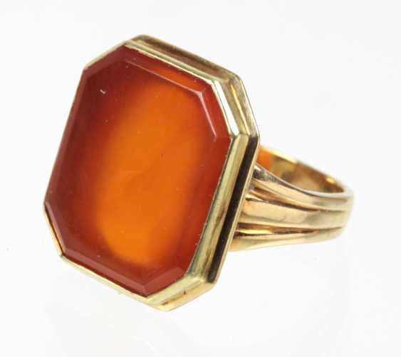 Carnelian Ring Yellow Gold 585 - photo 1