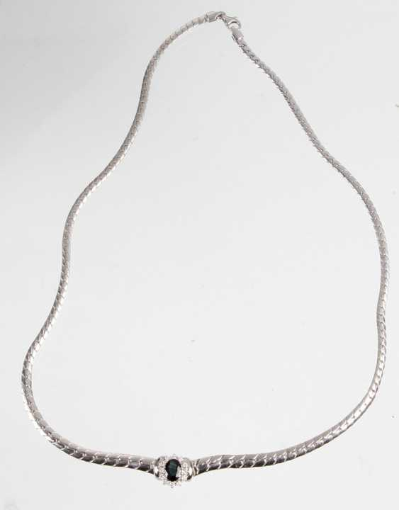 Sapphire necklace with diamonds - white gold 585 - photo 1