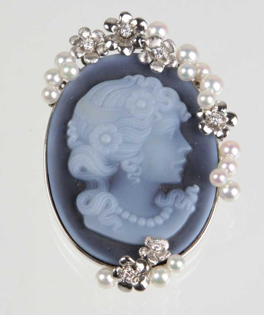 Agate Cameo Pearl Brooch Pendant White Gold 750 Brilliant - photo 1