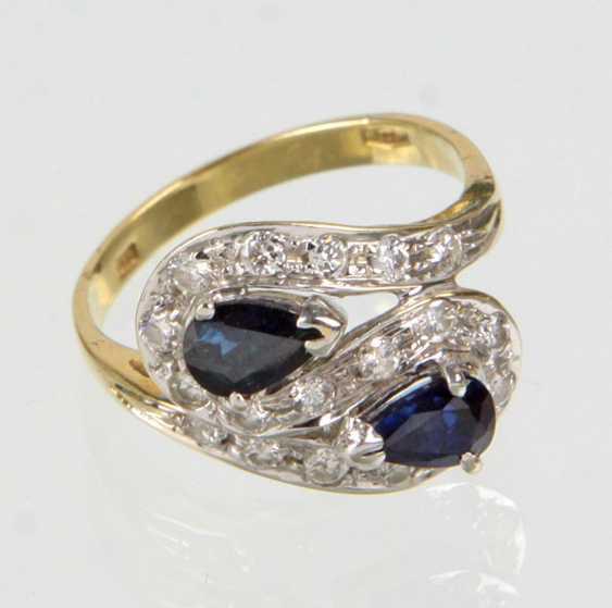 Sapphire Diamond Ring - Yellow Gold/White Gold 585 - photo 1