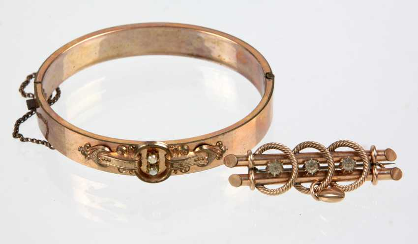 Bangle bracelet gold double. Brooch circa 1880 - photo 1