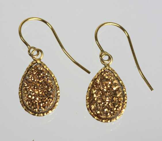 Golden glittering agate earrings - yellow gold 375 - photo 1