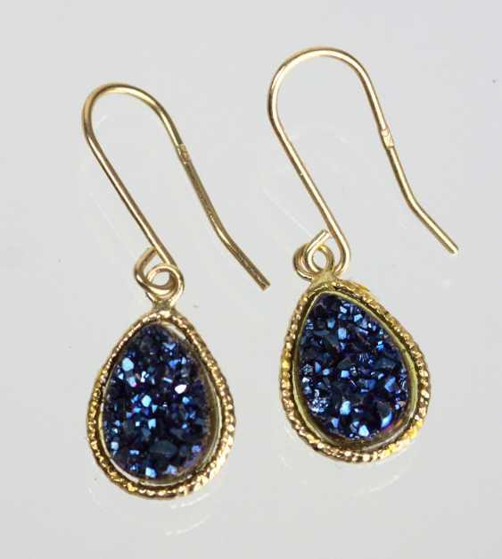 blue glitter agate earrings - yellow gold 375 - photo 1