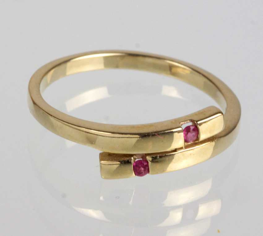 Ring with rubellite tourmaline yellow gold 375 - photo 1