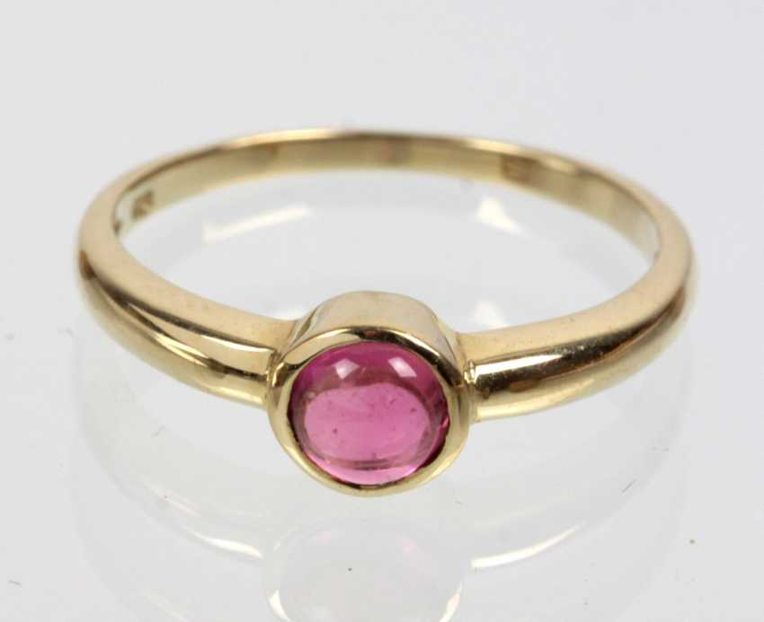 Ring with pink tourmaline - yellow gold 375 - photo 1