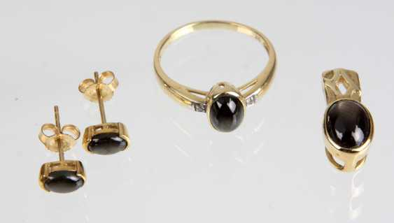 Jewelry with black star sapphire yellow gold 375 - photo 1