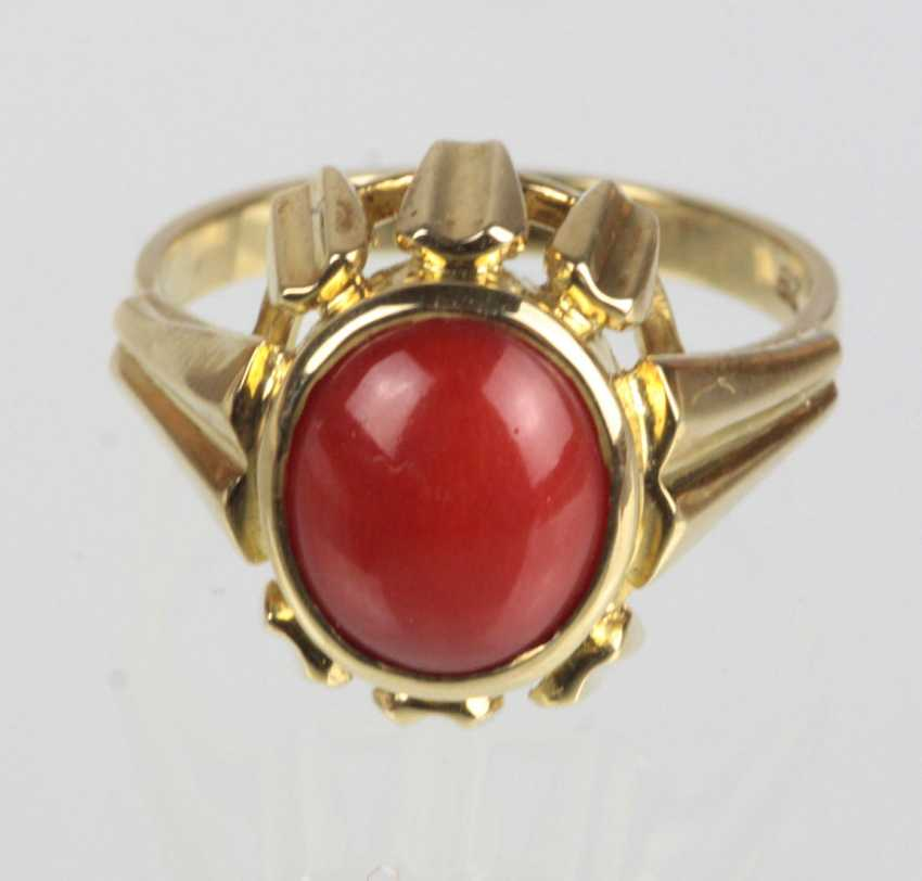 Coral Ring Yellow Gold 585 - photo 1