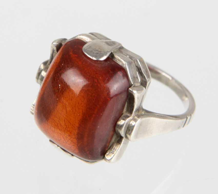 Bernstein Ring - Silber - photo 1