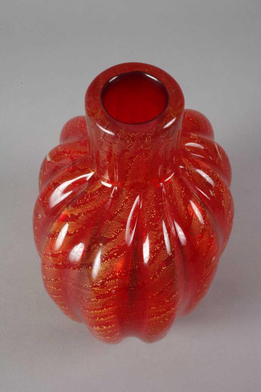 """Murano Glass Vase, Ercole Barovier """"Cordonato Oro"""" - photo 2"""