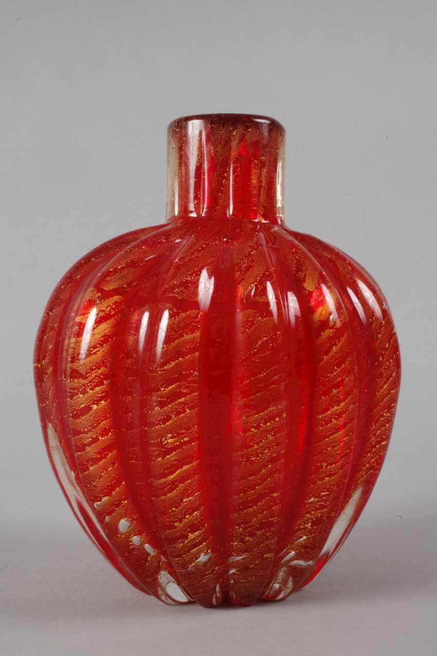 """Murano Glass Vase, Ercole Barovier """"Cordonato Oro"""" - photo 3"""