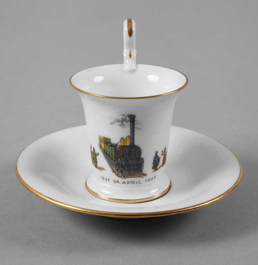Meissen anniversary Cup with a railroad motif - photo 1