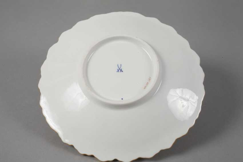 Meissen small ceremonial plate with flowers painting and cobalt Fund - photo 2