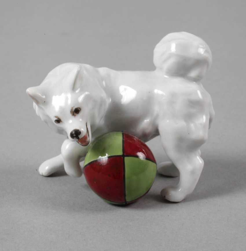 """Meissen miniature """"Small Spitz with a Ball"""" - photo 1"""